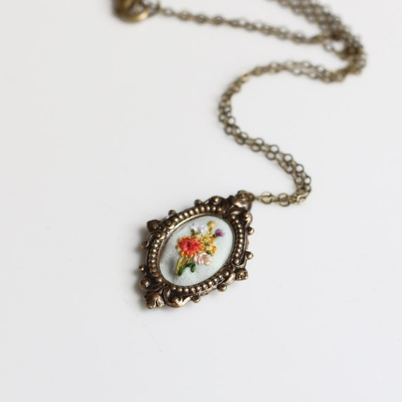 Little Texas WIldflowers- hand embroidered necklace, floral, flowers, summer, spring, bright