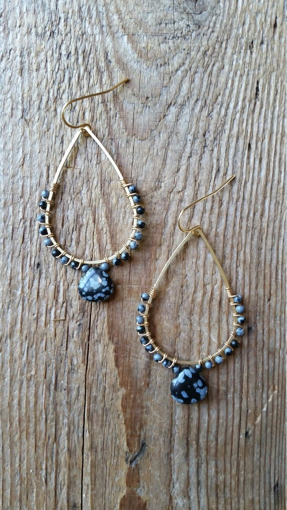 Snowflake obsidian wire wrapped brass teardrop earrings