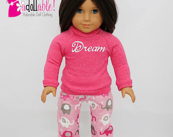 18 inch doll clothes made to fit like american girl doll clothes, winter pajama set