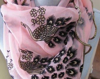 Pink and Black Chiffon Scarf