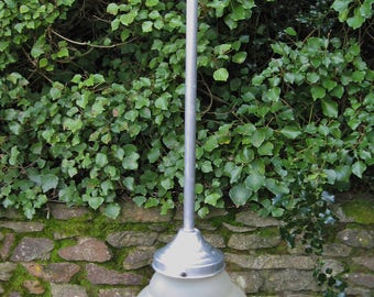 A Good Old French Pendant Light With frosted Glass Shade And Aluminium Hanging Arm