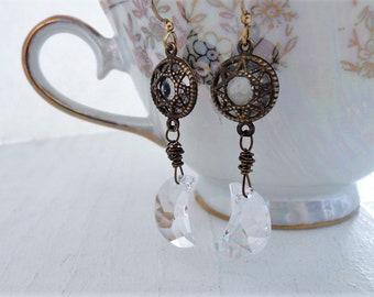 Crystal Moon and Stars Earrings Bohemian Boho Style Wedding Jewelry Night Sky Constellations Moon Earrings Star Earrings Romantic Gift