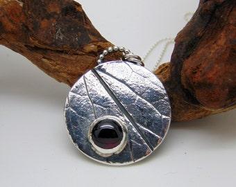 Sterling SIlver Garnet Pendant - January Birthstone - Silver Pendant - Birthstone Jewellery - Leaf Pendant - Nature Jewellery