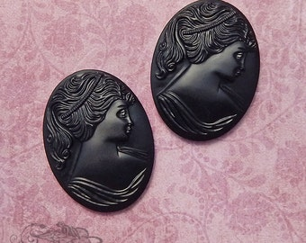 Vintage Cameos  30x40 mm Lady Cabochon  Black Glass Woman in Profile (choose 1 pc or 2 pc)