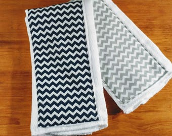 2 Burp Cloth combo in Navy and Gray