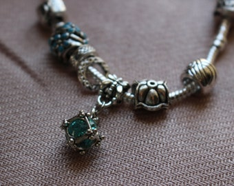 Silver Snake Chain Bracelet - Blue/Sparkle/Silver Beads