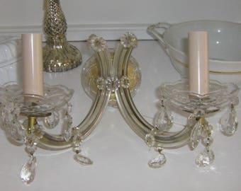 antike Wand-Kristalllampe