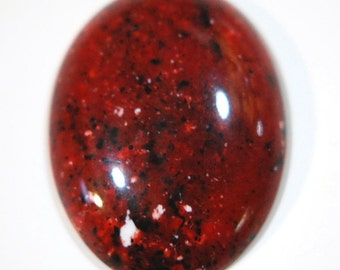 Vintage Red Acrylic Cabochon with Black and White Speckles 40x30mm cab812