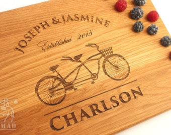 Personalized Cutting Board Tandem bike Wedding gift Bridal Shower Gift Wedding Present Gift for couple Anniversary Gift couple cutting board