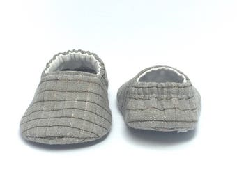 0-3mo RTS Baby Moccs: Brown & Copper Plaid / Crib Shoes / Baby Shoes / Baby Moccasins / Vegan Moccs / Soft Soled Shoes / Montessori Shoes
