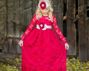 Red Lace flower girl dress, Flower girl dresses, Burgundy Flower girl dress, baby Girls Christmas dress, cranberry rustic flower girl dress