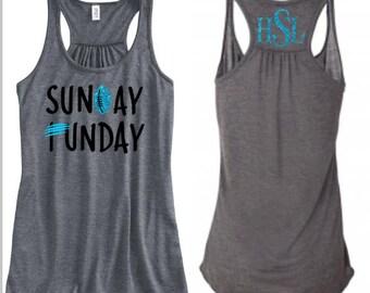 Ladies Carolina Panthers Tank, Sunday Funday Football Tank, Panthers Football Tank Top, Game Day Shirt
