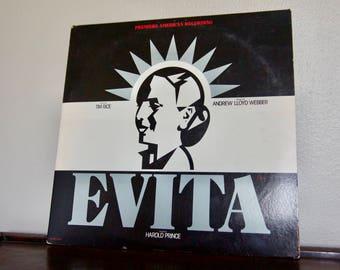Vintage Evita Vinyl Record / 1987 / Original Broadway Cast / Musicals / Vintage Vinyl / Retro Records / Don't Cry For My Argentina / Music