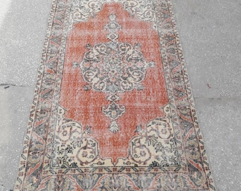 "Distressed Oushak Rug Vintage Turkish Rug Area Rug Handmade Wool Rug Vintage Anatolian Low Pile Worn Rug 3'8"" x 6'8"" Feet Free Shipping !"