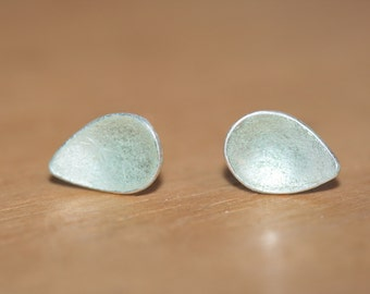 Sterling Silver, Sea Green enamel, Earstuds