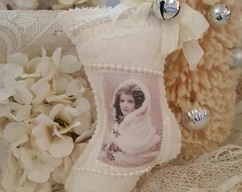 Vintage Ivory Christmas Stocking Lavender Sachet Antique Stocking Ornament Vintage Images Children