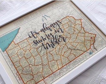 Oregon & Pennsylvania | personalized calligraphy map | original vintage map | calligraphy map | custom calligraphy map