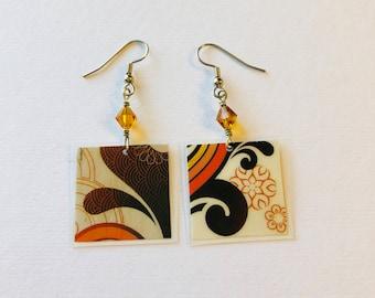Geometric Pattern Recycled Magazine Earrings