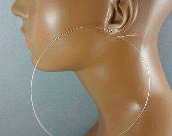 Silver 5 and 6 inch hoop earrings ultra thin lightweight wire 746