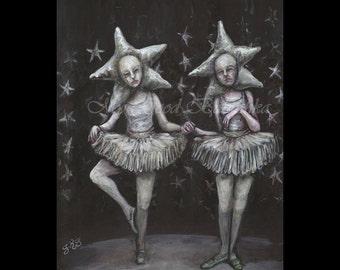 Passamezzo, Print, Ballerina, Stars, Black and White, Surreal, Binary System, Astronomy, Space, Twins, Dancers, Italian, Folk Dance, Night