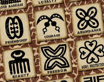 Adinkra Symbols Of West Africa - Printable African Symbols / Phrases / Words - DOWNLOAD 1x1 Inch Square Tiles Digital JPG Collage Sheet
