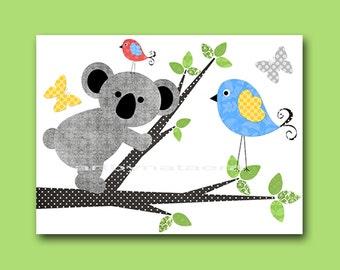 Blue Yellow Green Gray Koala Nursery Art Print Baby Boy Nursery Print Kids Wall Art Childrens Art Print Kids Art Kids Room Decor