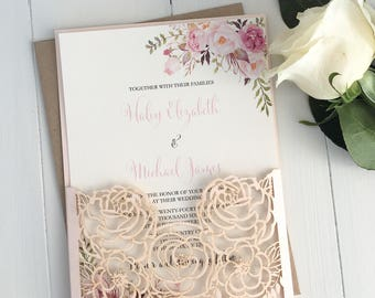 Blush Pink Floral Wedding Invitation suite, Laser Cut Wedding Invitation,  Elegant Wedding Invitation, Roses, Floral Wedding Invitation
