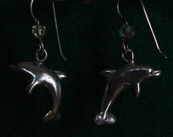 Dolphins  - Sterling Silver Dangle Earrings