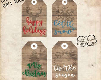 Christmas Rustic Wood Grain Seasonal Gift Tags- INSTANT DOWNLOAD- INSTANT Access