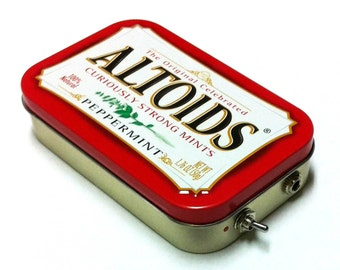 Portable Amp and Speaker for iPhone MP3 Player -Altoids Red/Red handmade phone amplifier