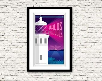 Palos Verdes California Print 17x27 - Point Vicente Lighthouse