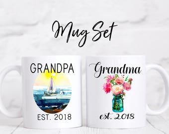 Grandparent Mugs, Pregnancy Reveal To Grandparents, Pregnancy Announcement Grandparents, New Grandparents, Grandma, Grandpa, Personalized