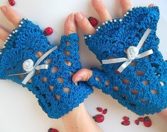 Crocheted Cotton Gloves Women XL Ready To Ship OOAK Victorian Fingerless Summer Opera Wedding Lace Evening Knitted Gothic Party Blue B40