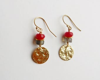Gold plated sterling silver textured disk earrings with labradorite and red jade beads. Gold Disk dangle earrings