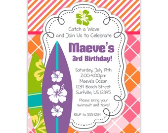 Surf Invitation - Pink Orange Stripes and Argyle, Lime Green, Purple Surfboards Personalized Birthday Party Invite - Digital Printable File