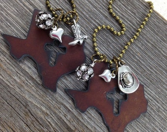 TEXAS Necklace with Cross Cutout, Texas Jewelry, Texas Pendant, Cross Necklace, Cross Jewelry,  Rustic Necklace, Christian Necklace