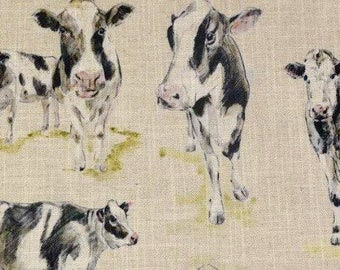 Clarke & Clarke dairy cow linen fabric sample