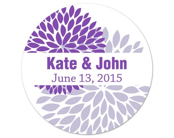 Personalized Wedding Stickers - Custom Labels - Flower Stickers - Mums Labels - Flower Stickers - Personalized Labels - Flower Wedding