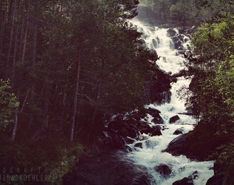 WATERFALL photography print, Norway mountain landscape, 8x12