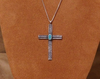 Navajo Made Sterling Silver And Turquoise Cross Pendant