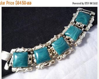 ON SALE Vintage 1960's Large Signed Coro Green Lucite Chunky Wide Bracelet - Old Hollywood Mid Century Collectible Costume Jewelry