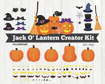 BUY 2 GET 1 FREE Jack O' Lantern Creator Kit clipart / jack o lantern clip art / halloween pumpkin clipart vector / commercial use ok
