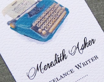 Personalized business card with Blue Vintage Typewriter - Set of 50