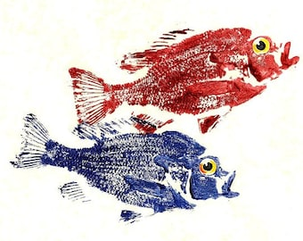 One Fish Two Fish Red Fish Blue Fish  Art Print (GYOTAKU) Fish Rubbing  8.5 X 11 Sunfish by Barry Singer