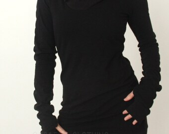 hooded tunic dress with thumb hole sleeves in BLACK/The ORIGINAL