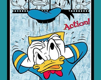Donald Duck Film Strip Disney PANEL sewing quilting cotton woven