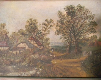 Vintage Oil Painting Landscape Country Cottage