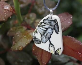 Morning Glory Flower Pattern Ceramic Necklace