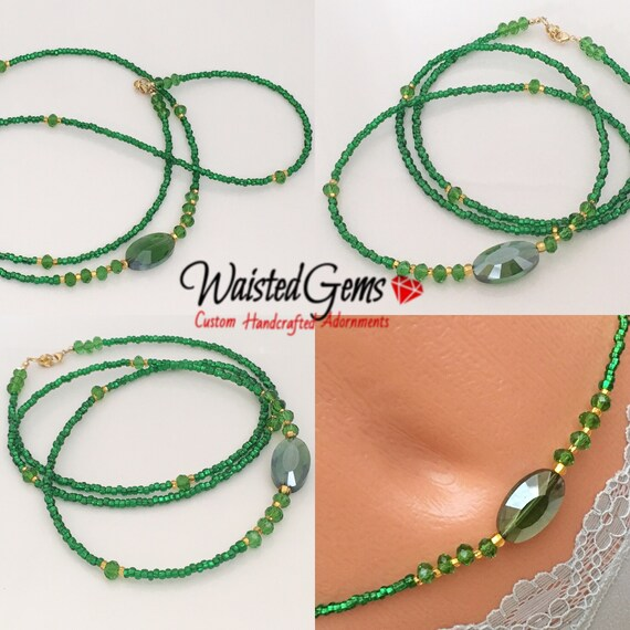 Emerald Waist Beads, Belly Chain, waistbeads, Body Beads, Summer Party, Summer Jewelry, Belly Chain, beach wear, Gift for her, Sale