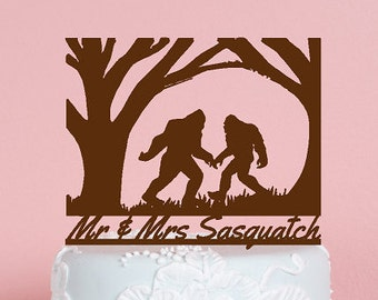 Sasquatch, Big Foot, Yeti, Abominable Snowman Couple, Folklore Creature for the Outdoor Wedding.  Your Name or Phrase